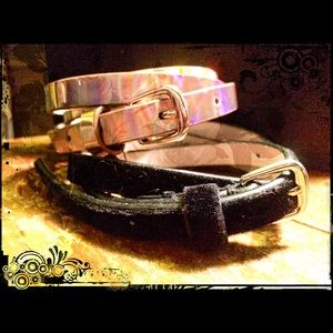 LODIS Metallic&Velvet LeatherLined Skinny Belt Set